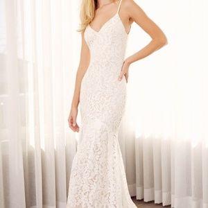 Lulu's Flynn White Lace Maxi Dress, Size Small